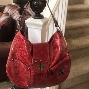 Nine West distressed patent hobo bag